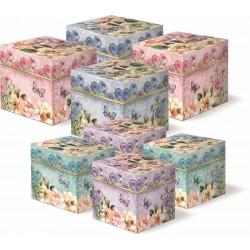 Set 8 boîtes carrées 'Magnolia Rose'