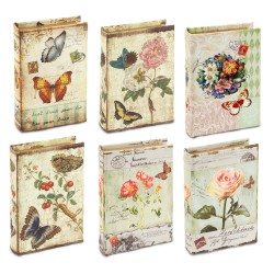 Set 6 book box (1 size) (6designs) - Flowers & Butterfly