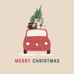 Bamboo Napkin 33x33 cm Christmas Car - Chic Mic