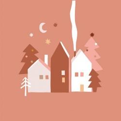 Bamboo Napkin 33x33 cm Winter Houses - Chic Mic