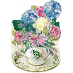 Carte Double GM 3D & ENV. 'Flowers Birdsthday'