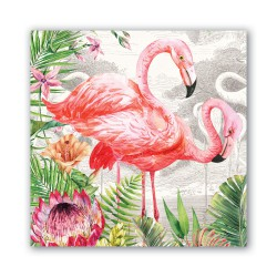 Serviettes en papier carrées 'Flamingo'