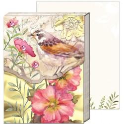Pocket carnet de notes 'Pink floral bird'