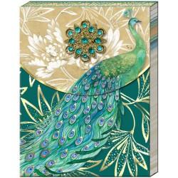Pocket carnet de notes brooch (Peacock) 'Emerald Peacock'