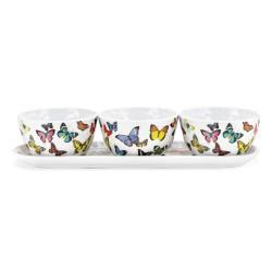 Set 3 bols appéritifs & plateau ' Papillon'