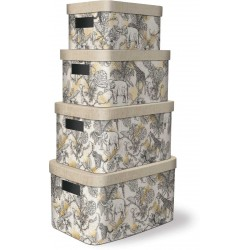 Set 4 boîtes de rangement (Jungle Toile) 'Jungle'