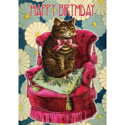 Carte double GM & env. 'HAPPY BIRTHDAY' (cat)