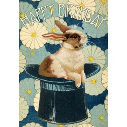 Carte double GM & env. 'HAPPY BIRTHDAY' (rabbit)