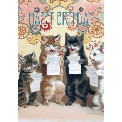 Carte double GM & env. 'HAPPY BIRTHDAY' (choral cats)