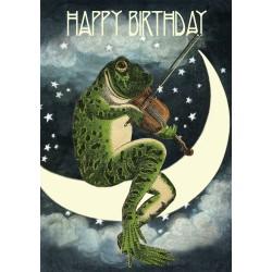 Carte double GM & env. 'HAPPY BIRTHDAY' (musician frog)
