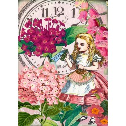 Carte double GM & env. 'ALICE' (Alice in the garden)