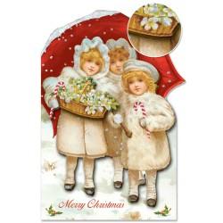 Carte Double PM 3D & ENV. Noël 'Trois Enfants'