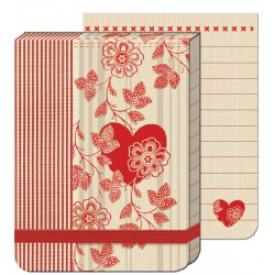 Pocket Carnet Notes (élastique rouge) 'Stripe Heart'