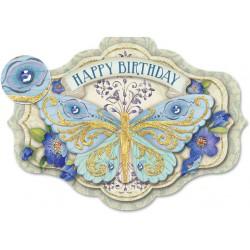 Carte Double GM 3D & ENV. 'Butterfly Birdsthday'