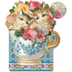 Carte Double GM 3D & ENV. 'Cats In The Cup'
