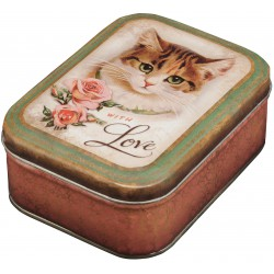Boîte Rectangulaire PM Nostalgie 'Whit Love Cat'