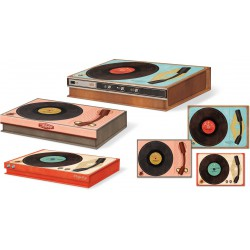 Set 3 boîtes rectangulaires basses Yesteryear 'Vintage Record Player'