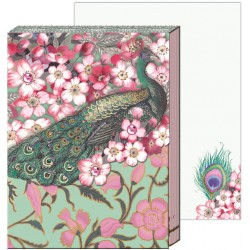 Pocket carnet de notes 'Cherry blossom peacock'
