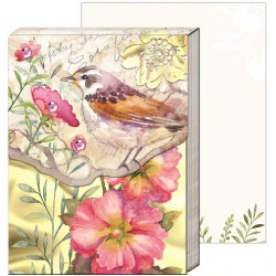 Pocket carnet de notes 'Pink floral bird'