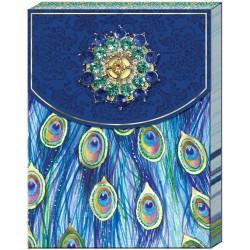 Pocket carnet de notes brooch (Blue Feather) 'Emerald Peacock'