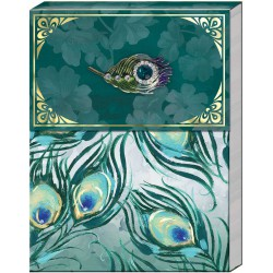 Pocket carnet de notes brooch (Green Feather) 'Emerald Peacock'