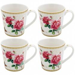 Coffret 4 mugs 'Redouté Rose'