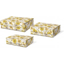 Set 3 boîtes rectangulaires GM 'Yellow Line Floral'