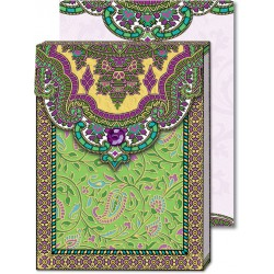 Pocket Carnet Notes Paisley 'Vert / Violet'