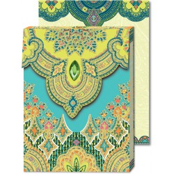 Pocket Carnet Notes Paisley ' Turquoise'
