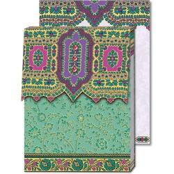 Pocket Carnet Notes Paisley ' Turquoise/Violet'